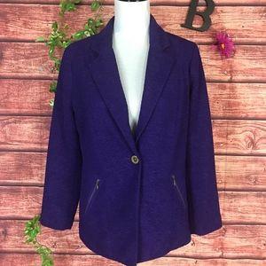 Chico's Blazer Jacket size 1 8 10 Purple Crinkle